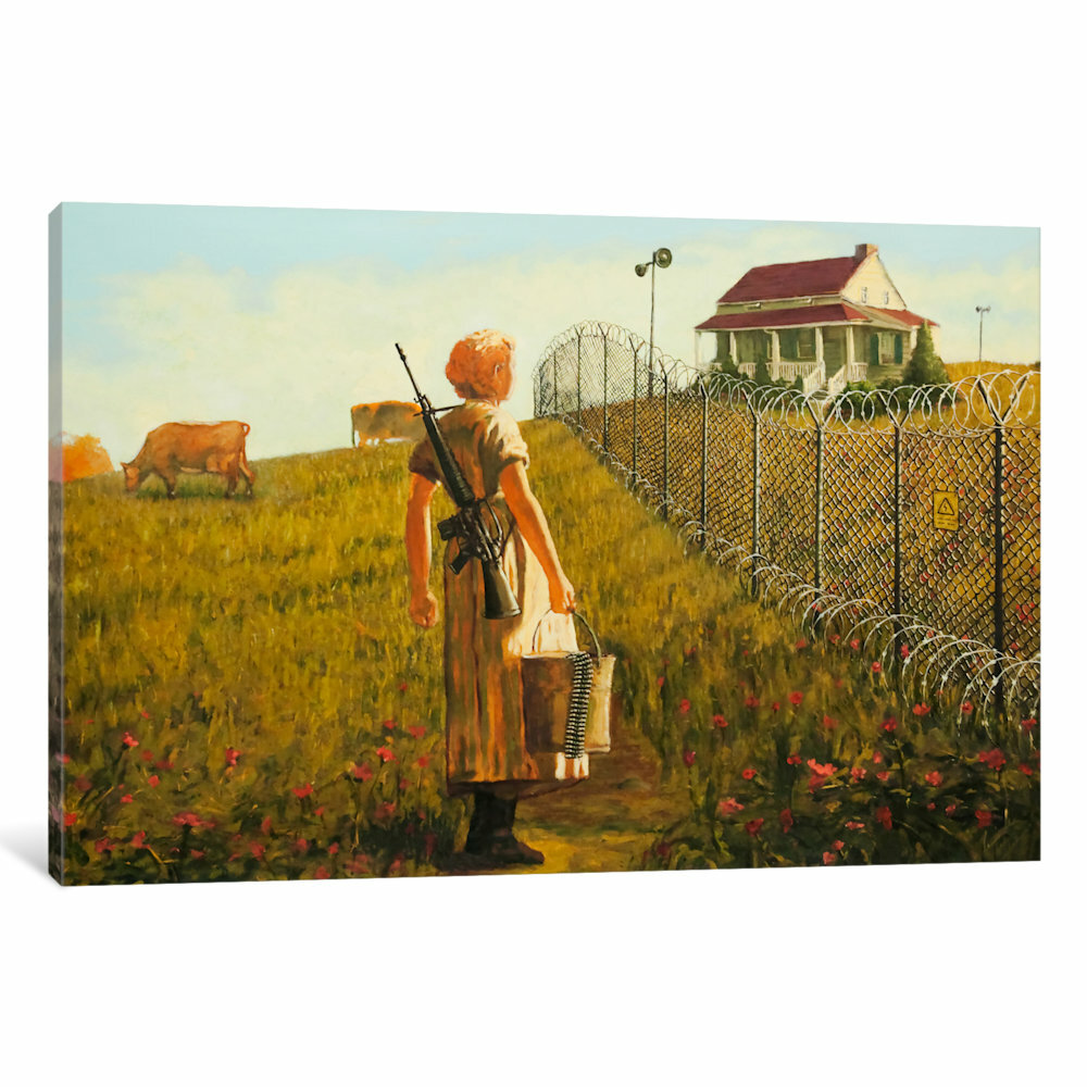 iCanvas Little House on the Prairie Fenced by Banksy Painting Print ...