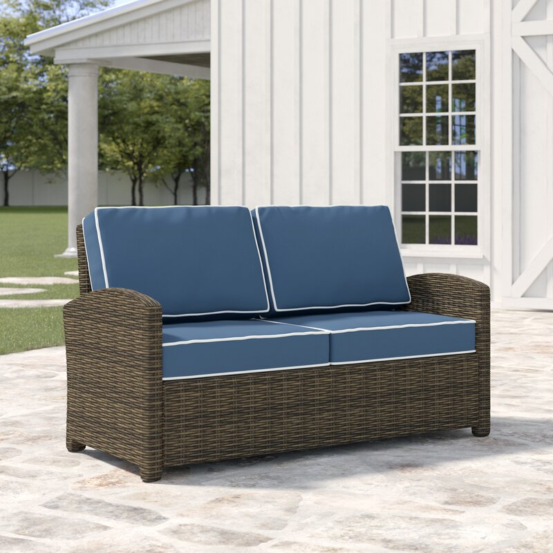 Lawson Wicker Loveseat With Cushions Reviews Birch Lane