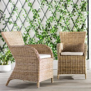 Reddick Burnett Patio Dining Chair with Cushion (Set of 2)