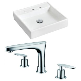 Price comparison Ceramic 17.5 Wall Mount Bathroom Sink with Faucet ByRoyal Purple Bath Kitchen