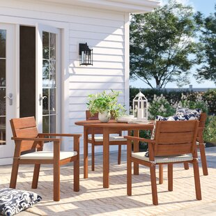 Brighton 5 Piece Eucalyptus Dining Set with Cushions