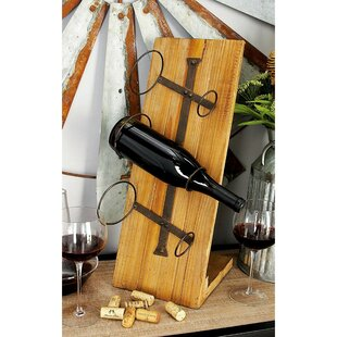 Abington Wood Metal 3 Bottle Tabletop Wine Bottle Rack by Fleur De Lis Living