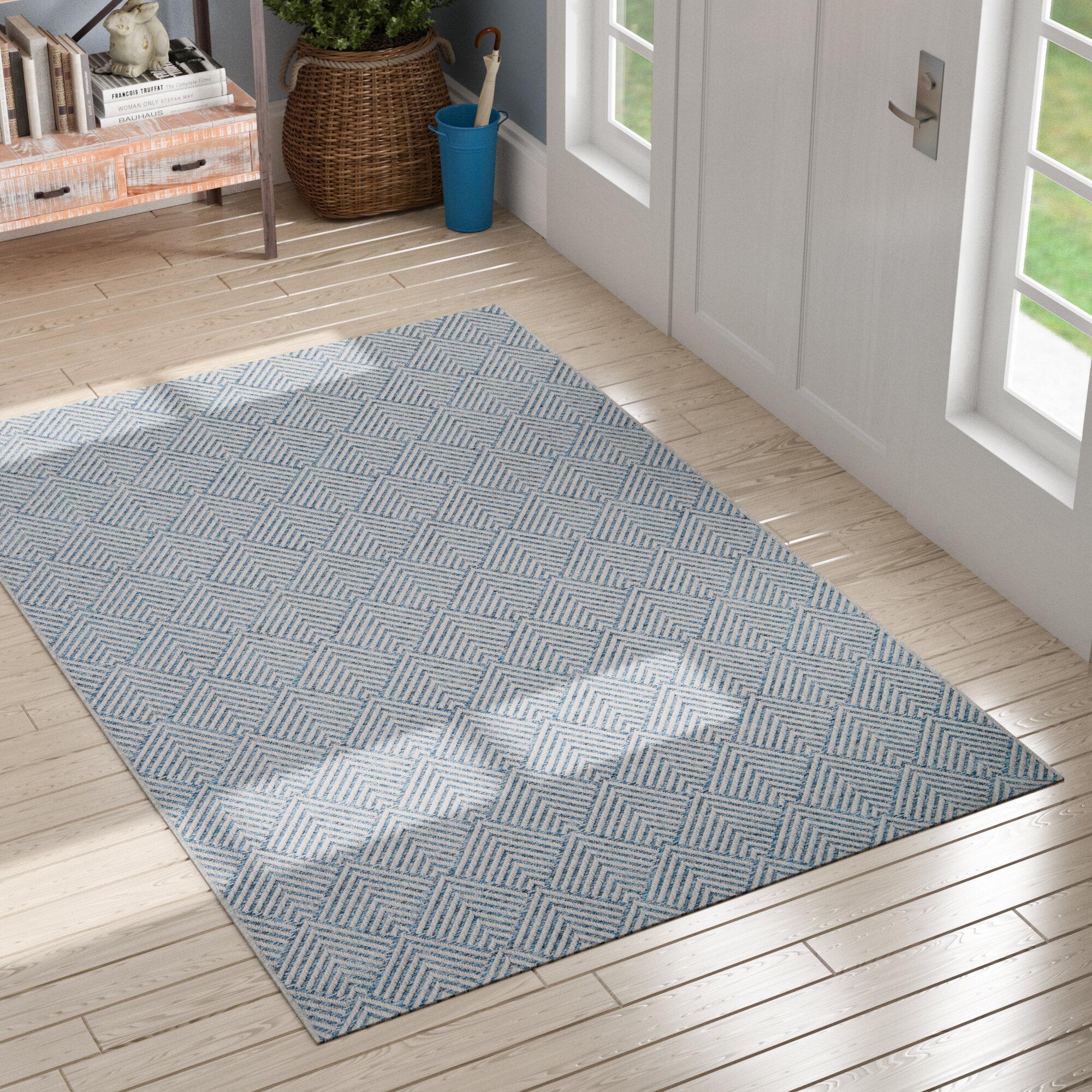 Sol 72 Outdoor Amina Geometric Blue Indoor Outdoor Area Rug Reviews Wayfair Ca