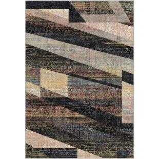 Reviews Bahr Distressed Geometric Black/Beige Area Rug ByGeorge Oliver
