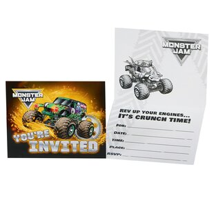 Monster Jam Paper Disposable Party Invite (Set of 8)