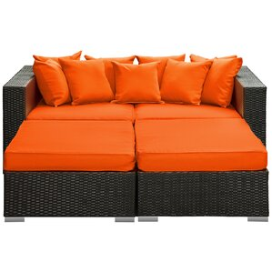 Fence 4 Piece Outdoor Patio Daybed With Cushions