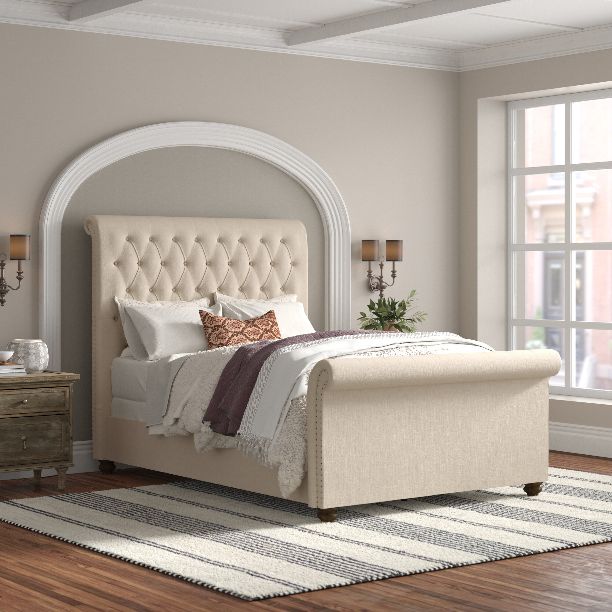 Allegro Upholstered Sleigh Bed Reviews Joss Main
