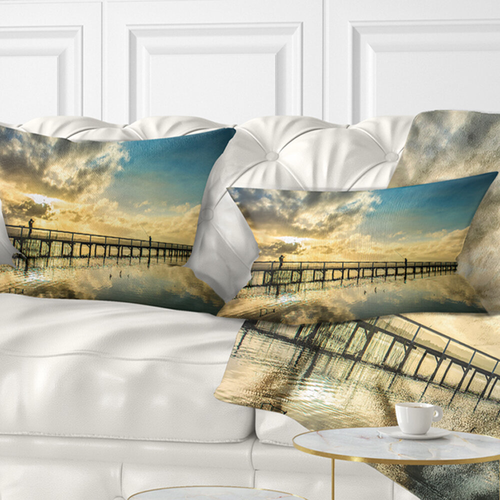 East Urban Home Long Jetty Foreshore Reserve With Clouds Sea Bridge Lumbar Pillow Wayfair