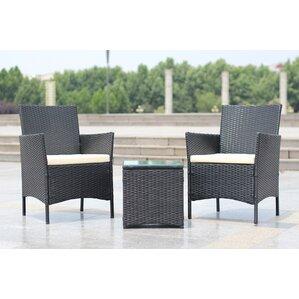 Walker Handmade 3 Piece Compact Outdoor Indoor Garden Patio Furniture Set Black Pe Rattan