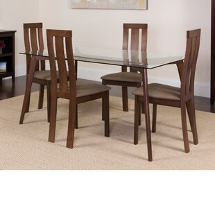 Huskins 5 Piece Solid Wood Dining Set by Winston Porter