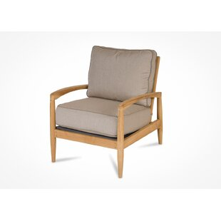 Corrigan Studio Cottman Teak Patio Chair with Sunbrella Cushions