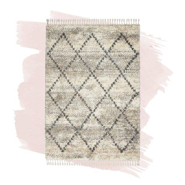 Foundstone Antoine Geometric Shag Ivory Gray Area Rug Reviews Wayfair