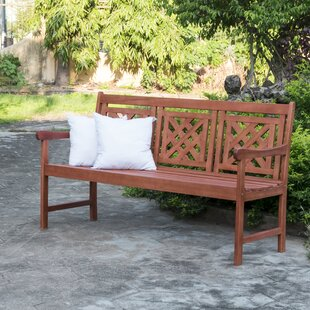 Deven Patio Plaid Wooden Garden Bench