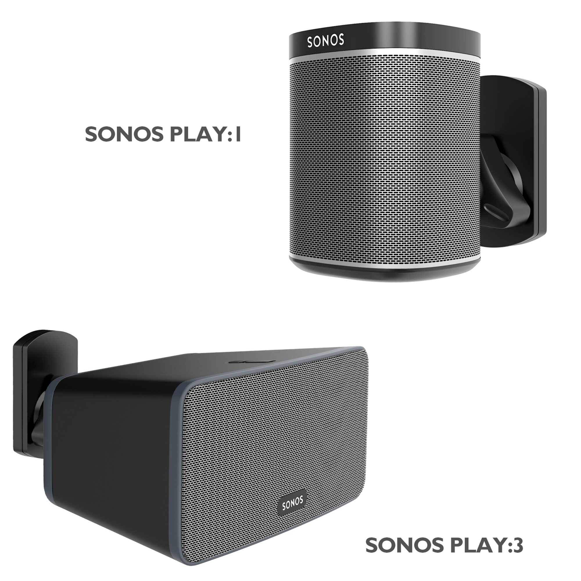 White Fixed Height Speaker Stand for Sonos Play 3