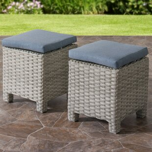 Rosecliff Heights Killingworth Weather Resistant Resin Wicker Ottoman with Cushions (Set of 2)
