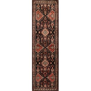 Purchase One-of-a-Kind Mechling Traditional Malayer Hamedan Persian Hand-Knotted Runner 3'5 x 12'6 Wool Beige/Black Area Rug By Isabelline