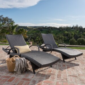 Peyton Adjustable Wicker Chaise Lounge (Set of 2)