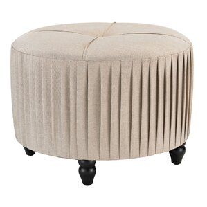 Colette Natural Linen Pleated Ottoman by Astoria Grand