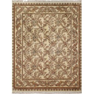 Cleasby Oriental Hand Knotted Wool Beige/Red Area Rug