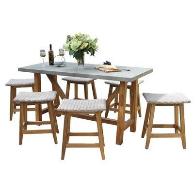 Caelan 7 Piece Teak Dining Set by Beachcrest Home 2020 Sale