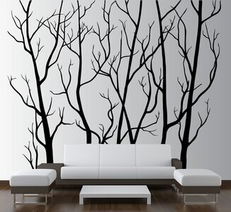 94a21b3377e Innovative Stencils Tree Forest Branches with Birds Wall Decal