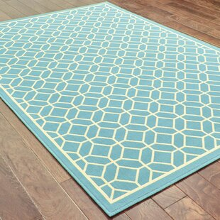 Liza Geometric Blue/Ivory Indoor/Outdoor Area Rug