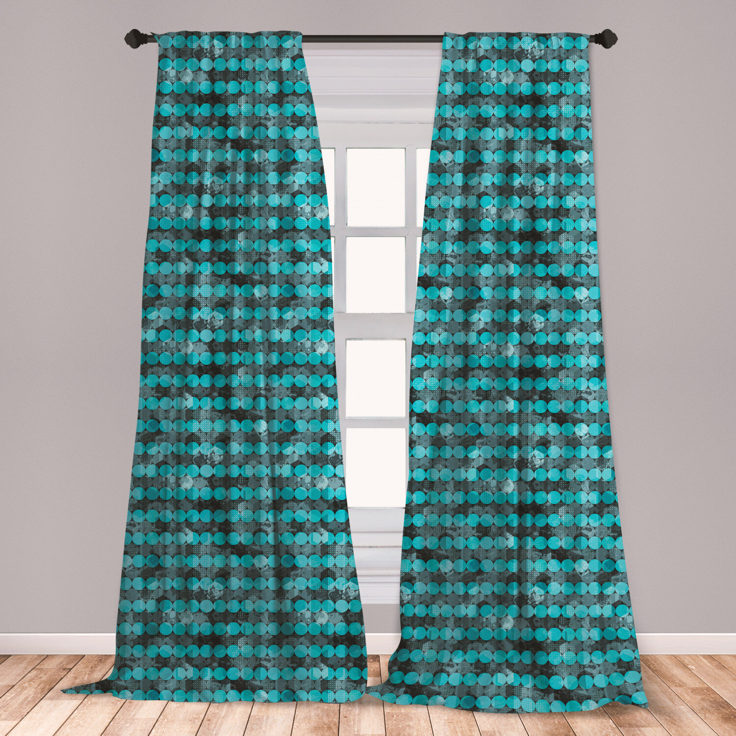 East Urban Home Ambesonne Grunge Curtains Contemporary Art Inspiration With Dots In Cold Colors Freezing Cool Winter Ice Window Treatments 2 Panel Set For Living Room Bedroom Decor 56 X 63 Pale