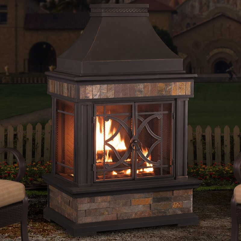 Sunjoy Heirloom Steel Wood Burning Outdoor Fireplace & Reviews ...