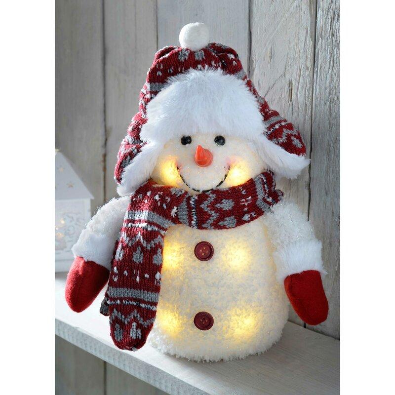 The Seasonal Aisle Pre-Lit LED Snowman with Fairisle Knitted ...