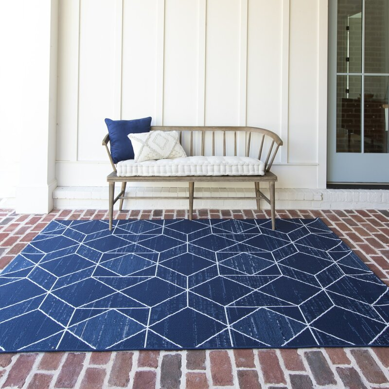 George Oliver Mccree Geometric Blue Indoor Outdoor Area Rug Reviews Wayfair