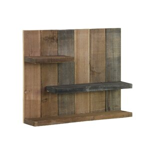Wood Rectangle Wall Shelf With 3 Tier Shelves Reclaimed Finish Multicolor Grey Dark Brown And Tan
