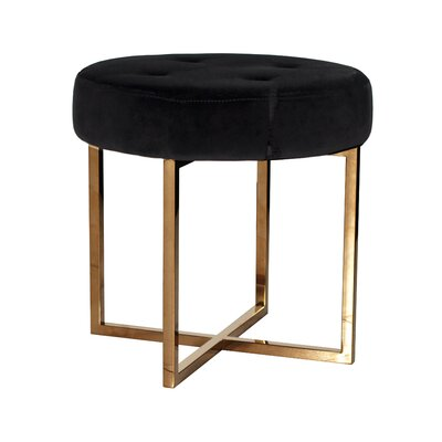 Miraculous Worldsaway Vanity Stool Upholstery Color Black Finish Brass Gmtry Best Dining Table And Chair Ideas Images Gmtryco