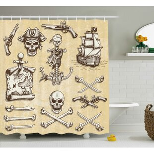 Check Prices Cerise Pirate Ship Skull Sketch Shower Curtain By Ebern Designs