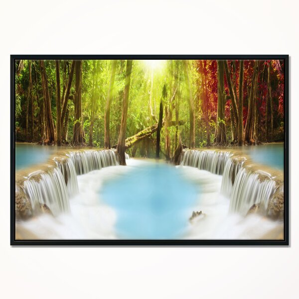 East Urban Home Huai Mae Kamin Waterfall Framed Graphic Art Print On Wrapped Canvas Wayfair