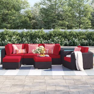 Brentwood 6 Piece Rattan Sectional Set with Cushions