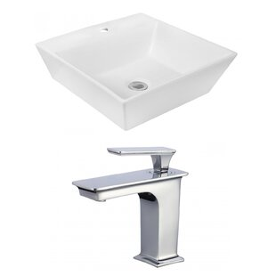 Looking for Ceramic Square Vessel Bathroom Sink with Faucet and Overflow By Royal Purple Bath Kitchen
