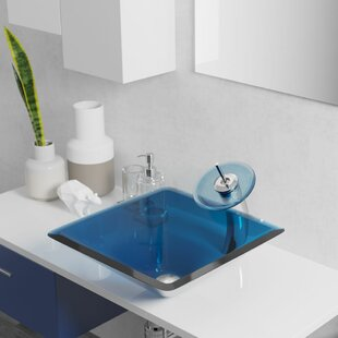 Affordable Glass Square Vessel Bathroom Sink with Faucet ByRené By Elkay