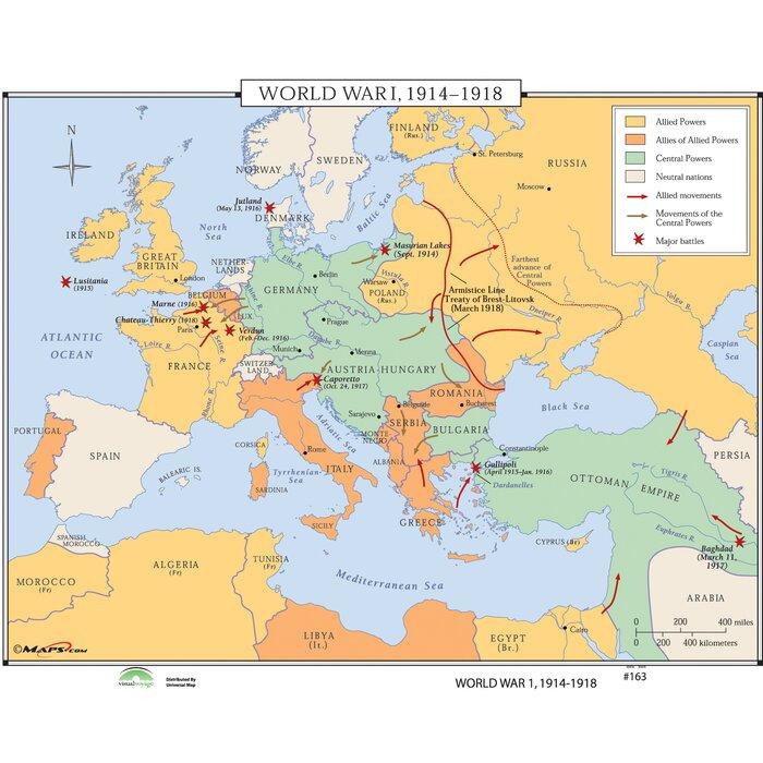 Universal map world history wall maps world war i 1914 1918 world history wall maps world war i 1914 1918 gumiabroncs Gallery