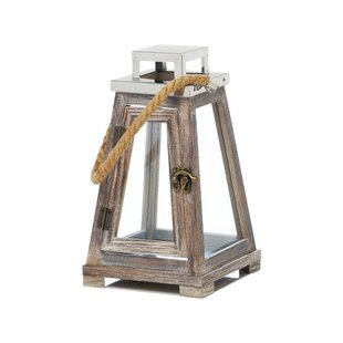 Best Pyramid Wood/Glass Lantern By Breakwater Bay