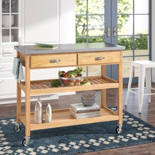 Drumtullagh Kitchen Cart with Stainless Steel Top Alcott Hill