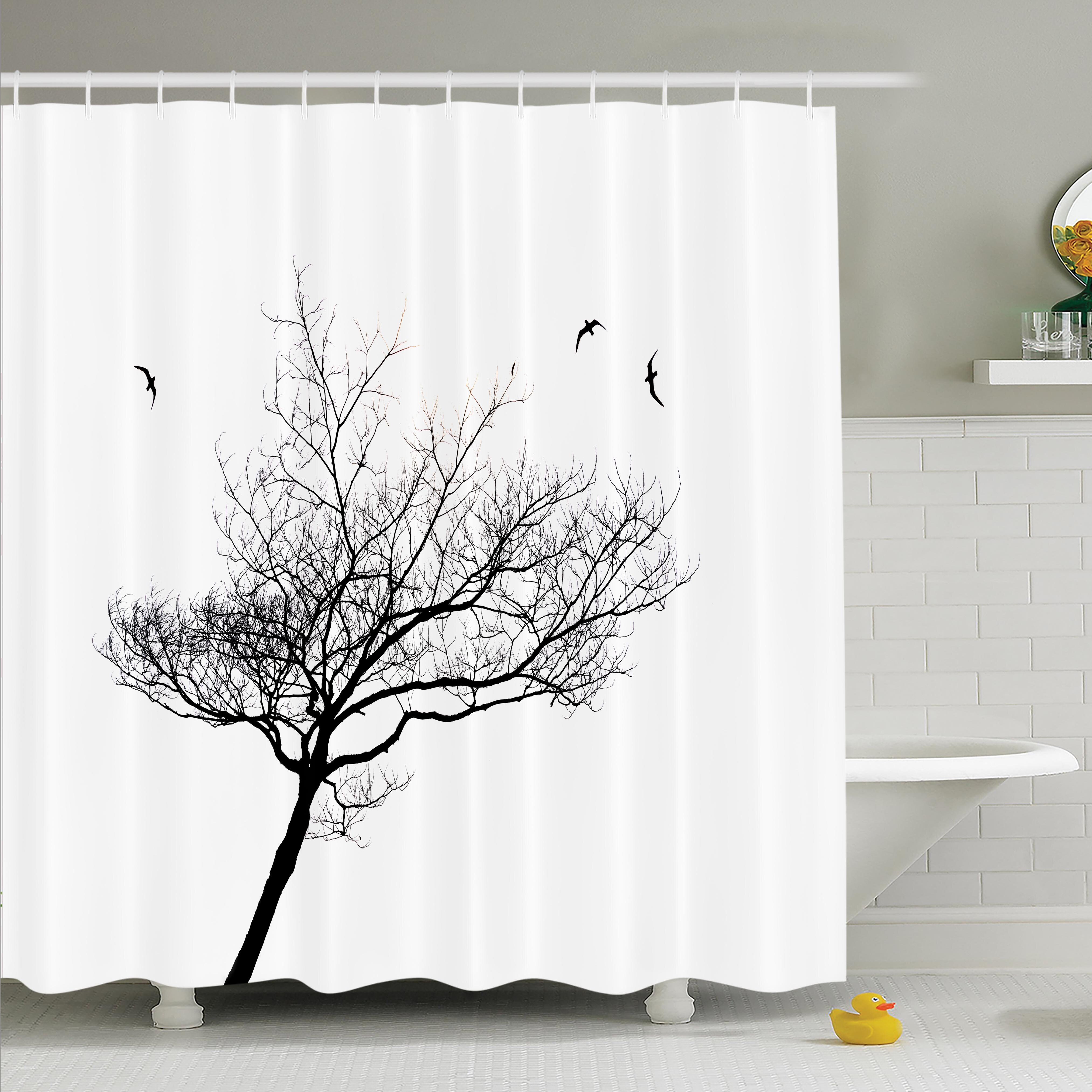 Ambesonne Tree Flying Birds Shower Curtain Set