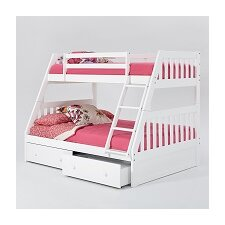 Mission Twin Over Full Bunk Bed with Under Storage and Ladder by Chelsea Home