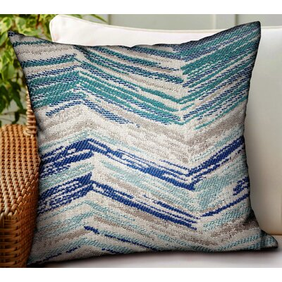 Leverett Chevron Luxury Indoor/Outdoor Throw Pillow by Bungalow Rose Bargain