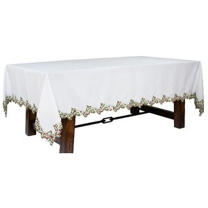 Holiday Holly Embroidered Cutwork Tablecloth