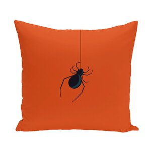 Halloween Orange Spider Outdoor Throw Pillow