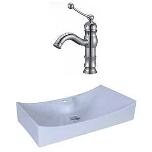 Reviews Ceramic Rectangular Vessel Bathroom Sink with Faucet and Overflow By American Imaginations