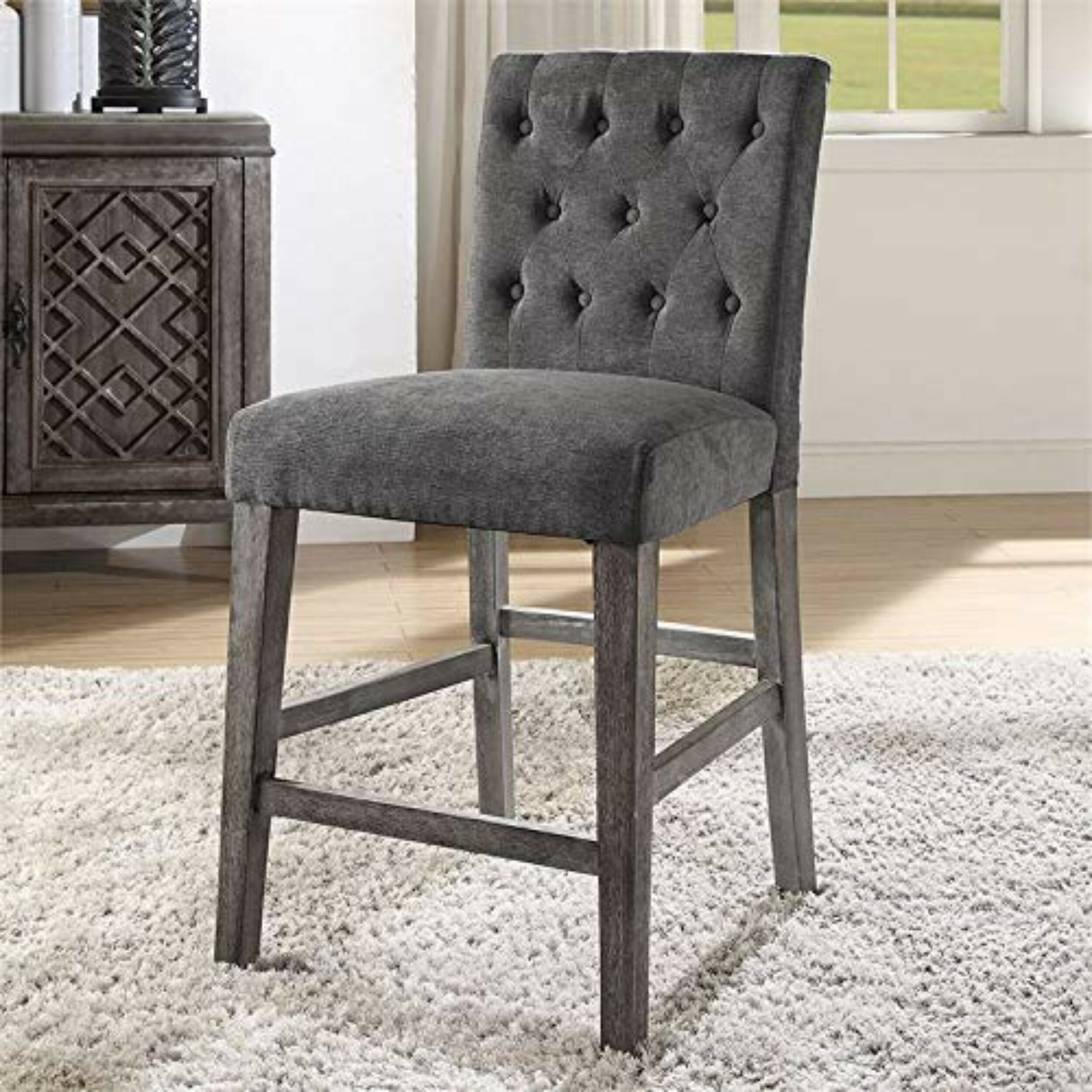 Anika Button Tufted Counter Height Upholstered Dining Chair