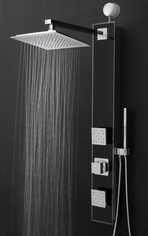 dual rain shower head. Temperature Control Rain Shower Head Panel Dual Systems You ll Love  Wayfair