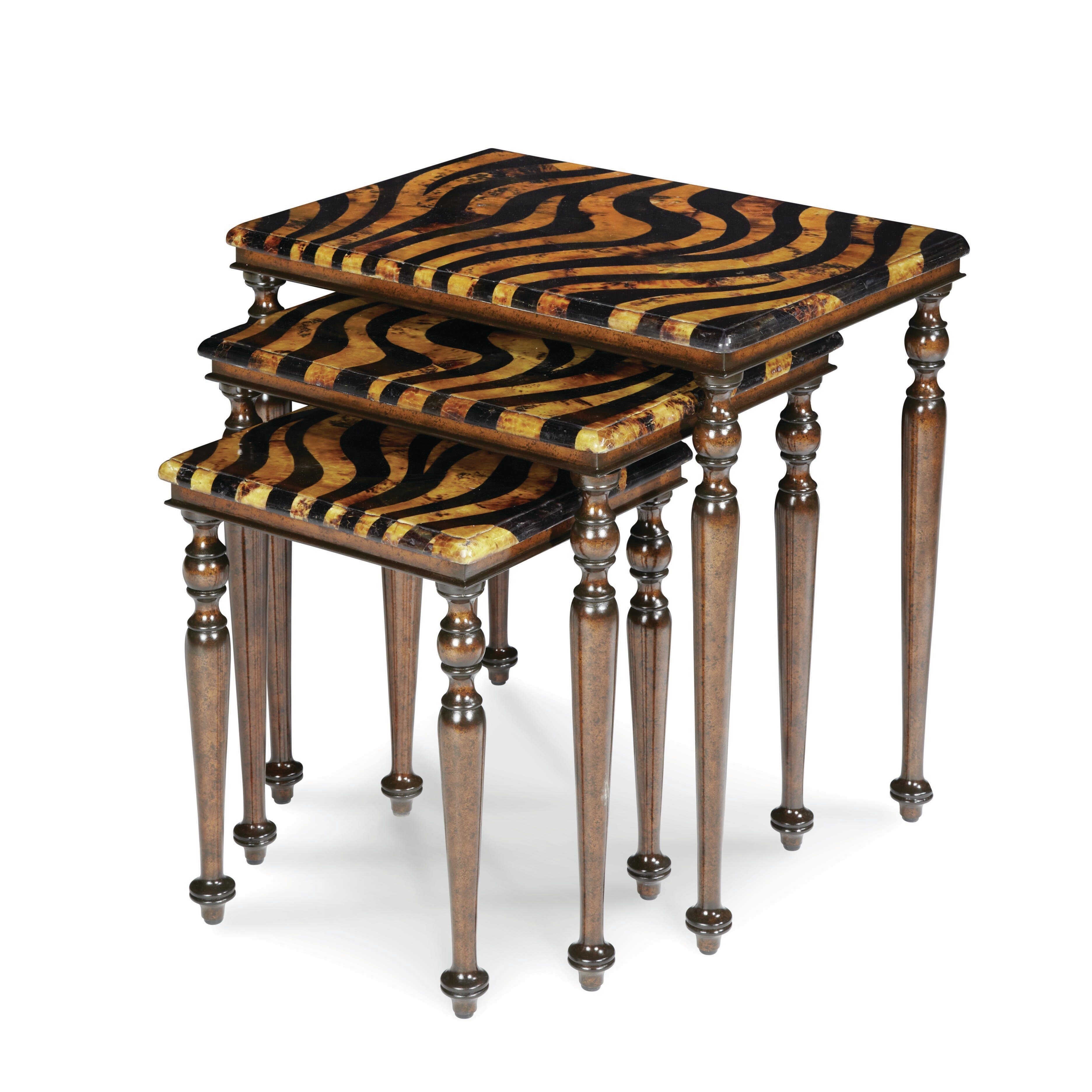 Michael Amini Discoveries Zebra 3 Piece Nesting Tables | Wayfair