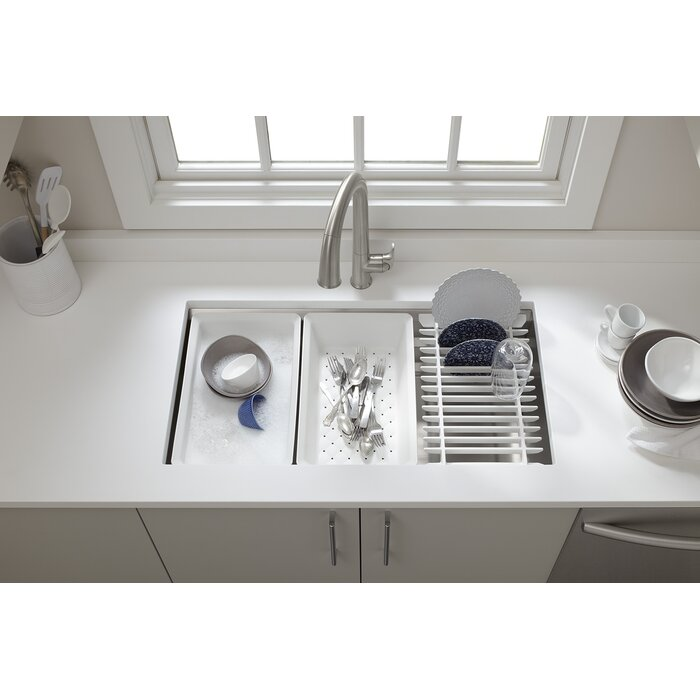 Prolific 33 L X 17 3 4 W 11 Undermount Single Bowl Kitchen Sink With Accessories